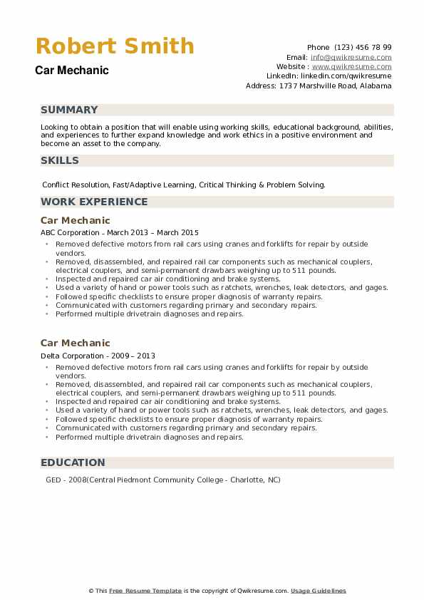 Car Mechanic Resume example