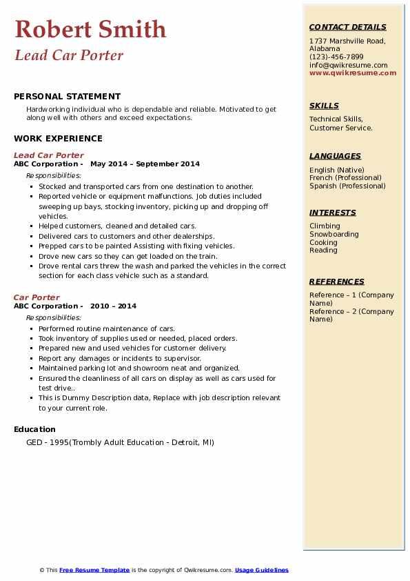 car porter resume samples  qwikresume