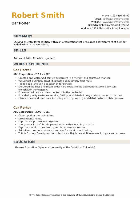 Car Porter Resume example