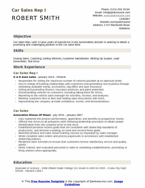 Car Sales Representative Resume Samples Qwikresume