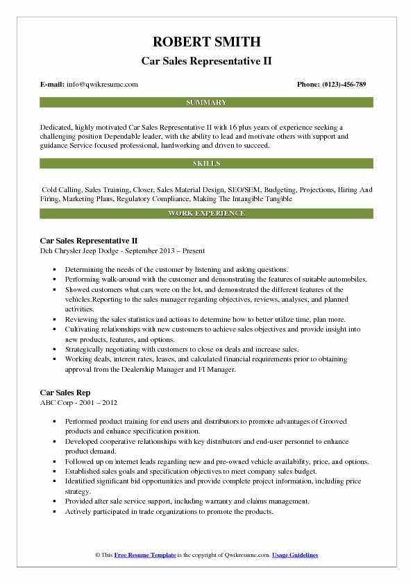 Car Sales Representative II Resume Format