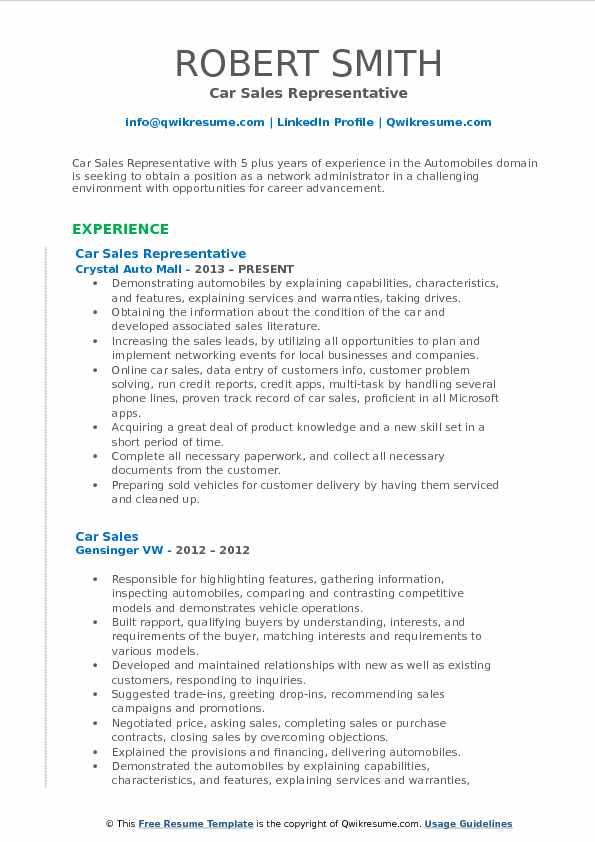 Car Sales Representative Resume Format