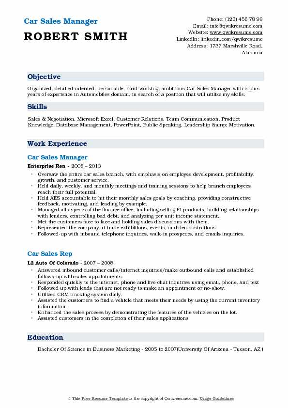 car sales representative resume samples