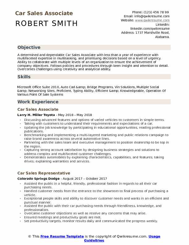 Car Sales Associate Resume Format