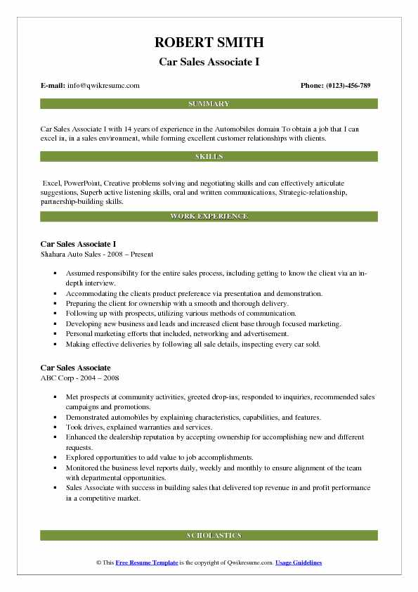 Car Sales Associate I Resume Format