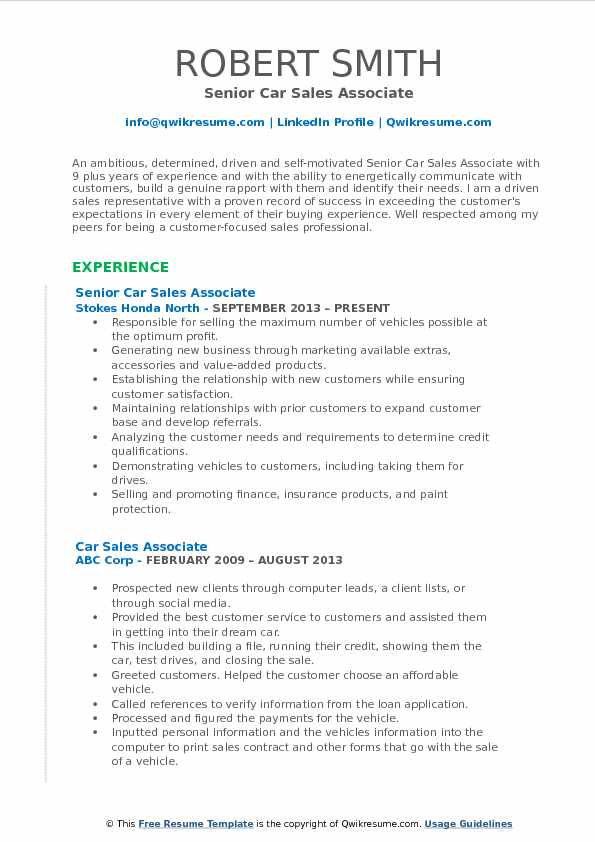 Senior Car Sales Associate Resume Template