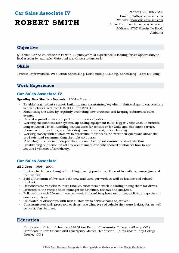 Car Sales Associate IV Resume Model