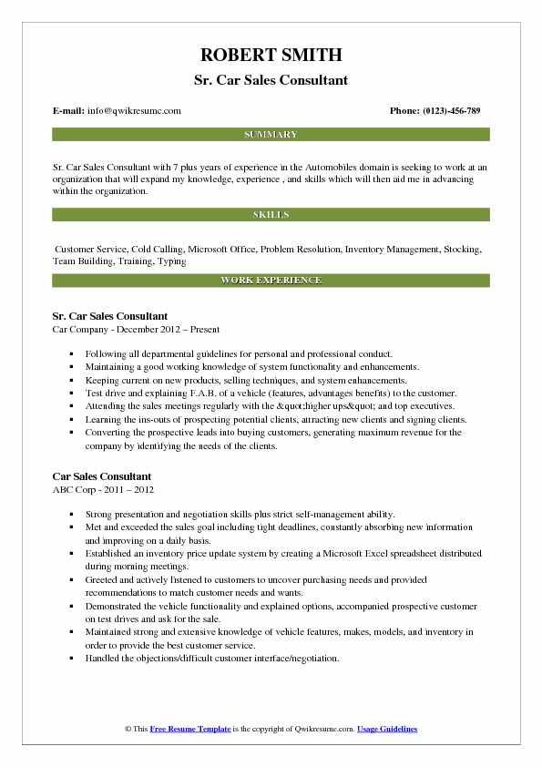 Sr. Car Sales Consultant Resume Example