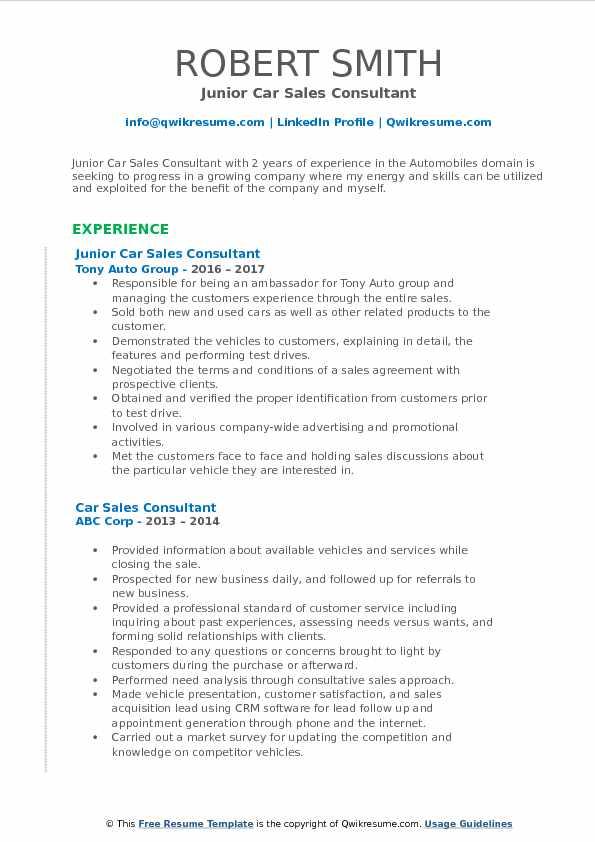 Junior Car Sales Consultant Resume Sample