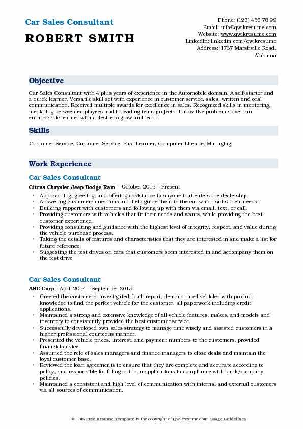 Car Sales Consultant Resume Model