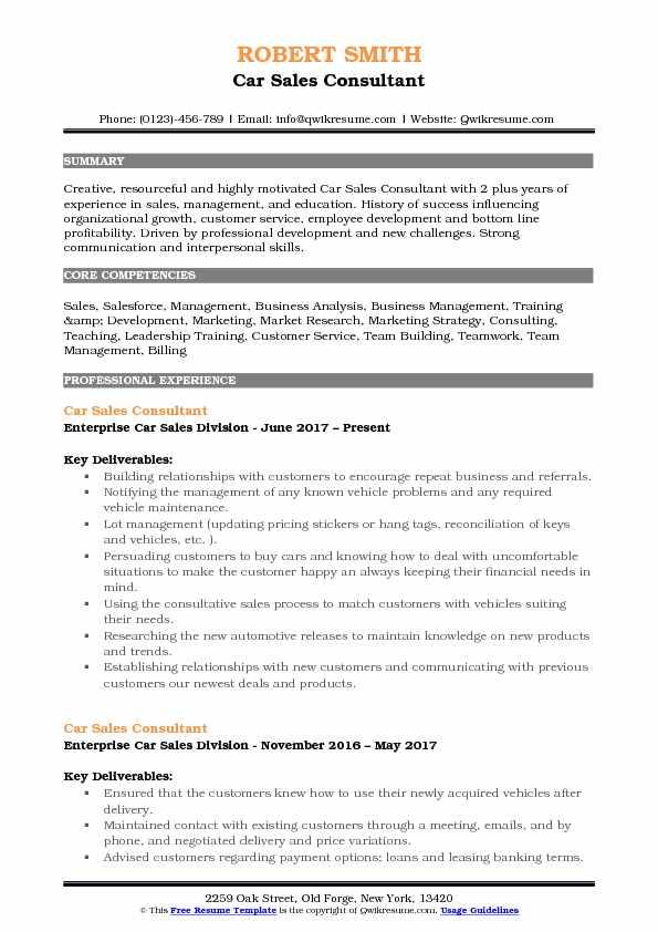 Car Sales Consultant Resume Sample