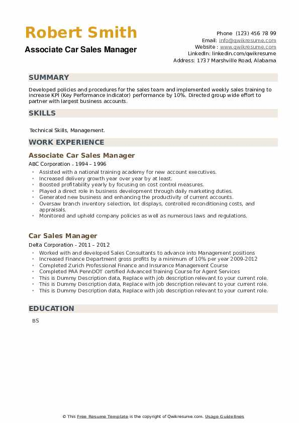 Car Sales Manager Resume example