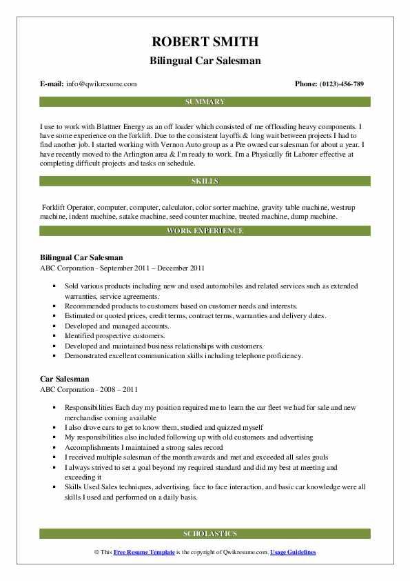 Bilingual Car Salesman Resume Format