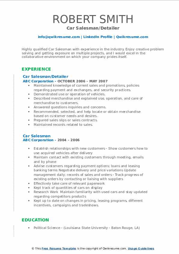 Car Salesman/Detailer Resume Model