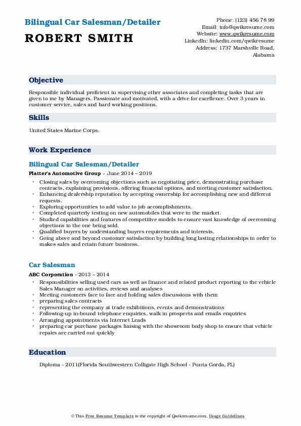 Bilingual Car Salesman/Detailer Resume Format