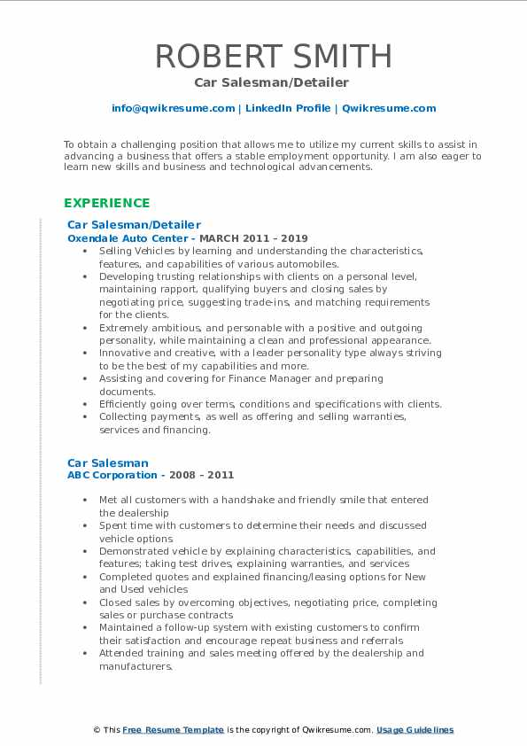 Car Salesman/Detailer  Resume Sample