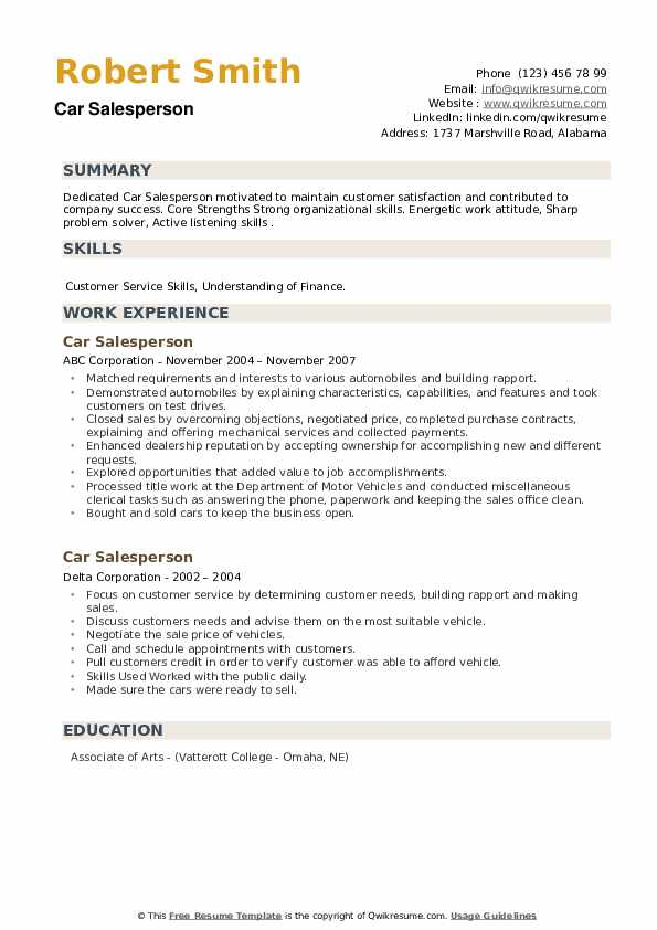 Car Salesperson Resume example