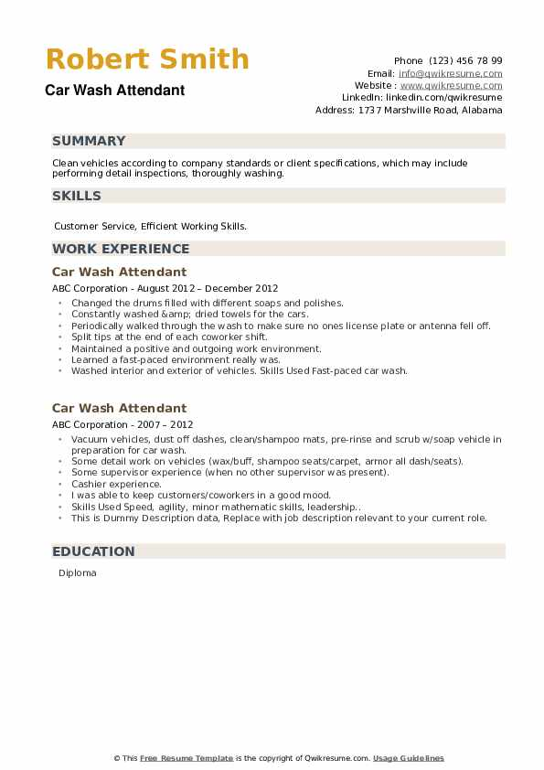 Car Wash Attendant Resume example