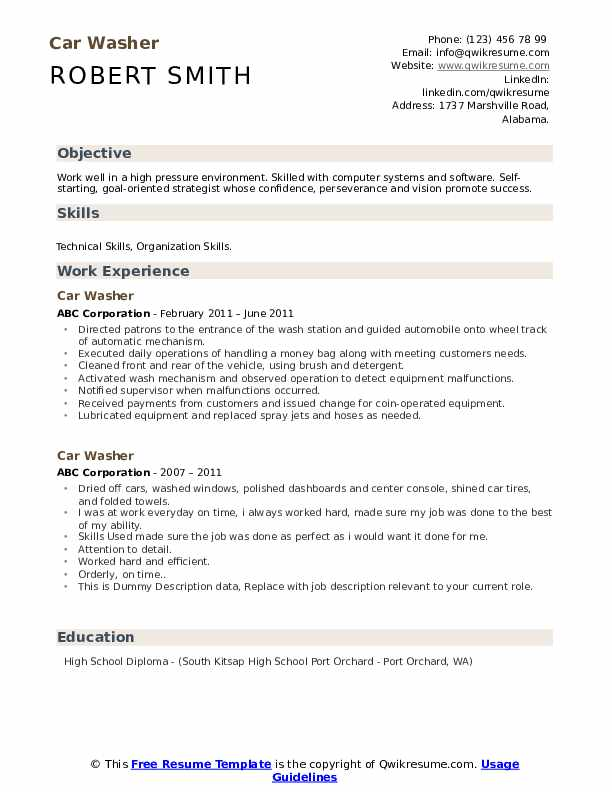 Car Washer Resume example
