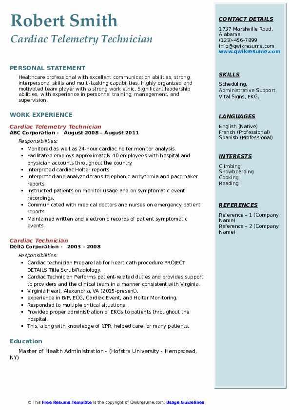 cardiac technician resume samples  qwikresume
