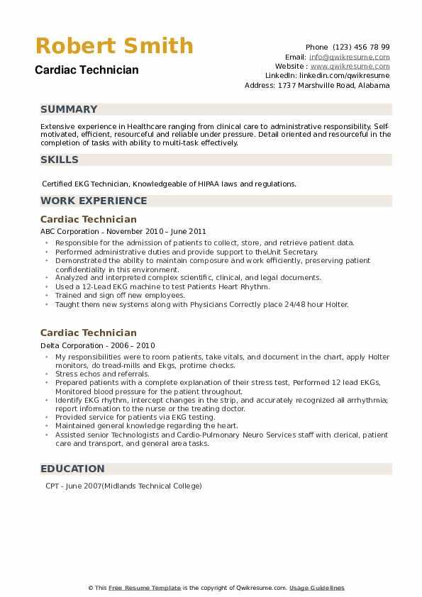 Cardiac Technician Resume example