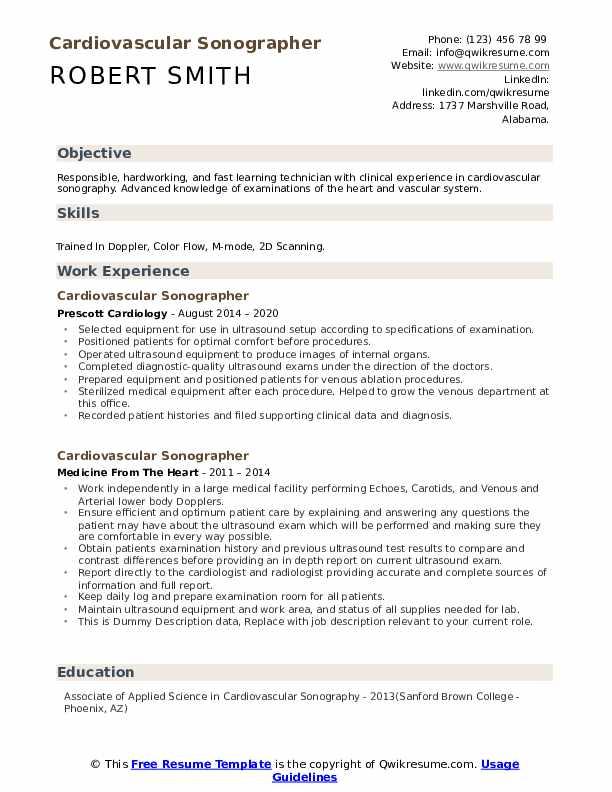 Cardiovascular Sonographer Resume example
