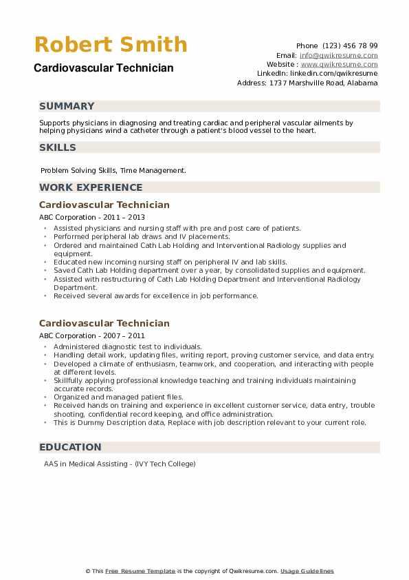 Cardiovascular Technician Resume example