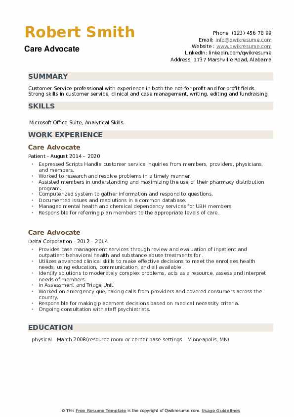 Care Advocate Resume example