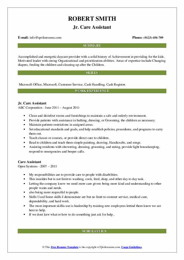 care assistant resume samples  qwikresume