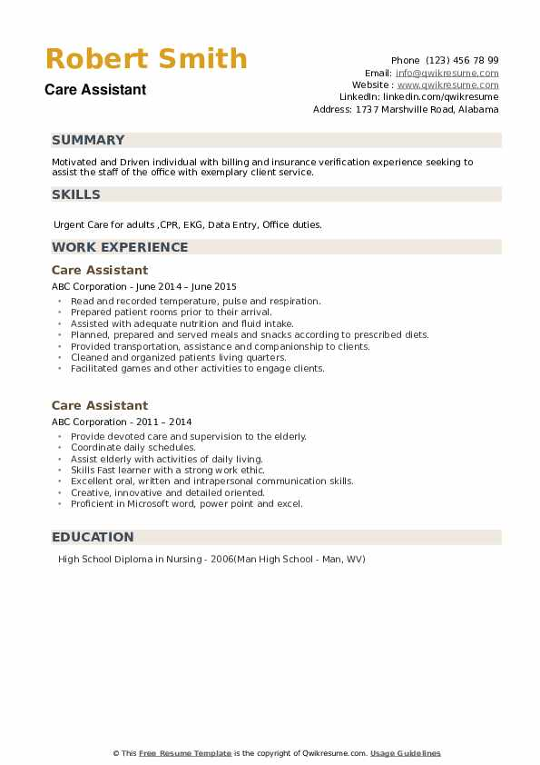 Care Assistant Resume example