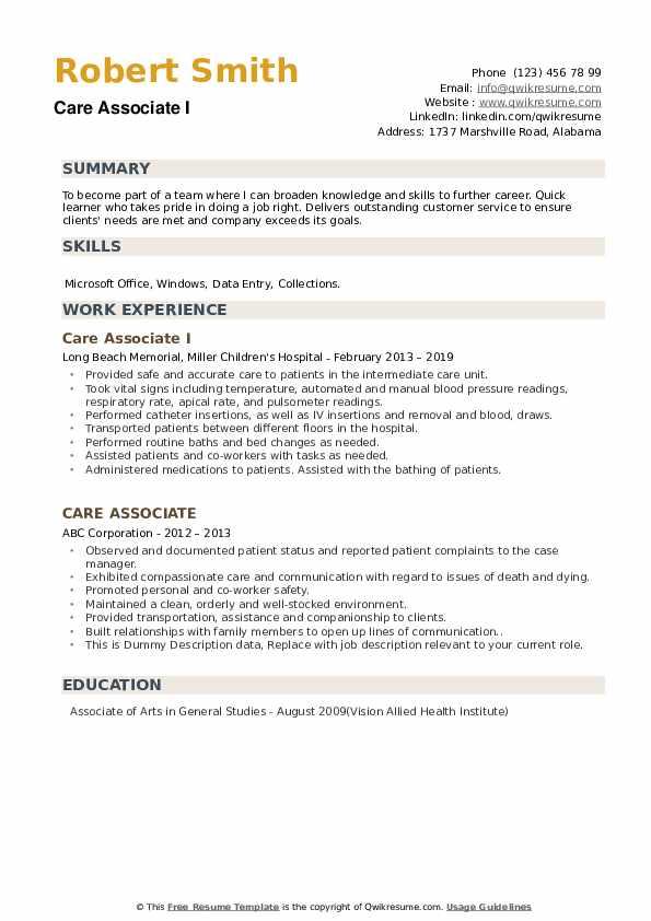 Care Associate Resume example