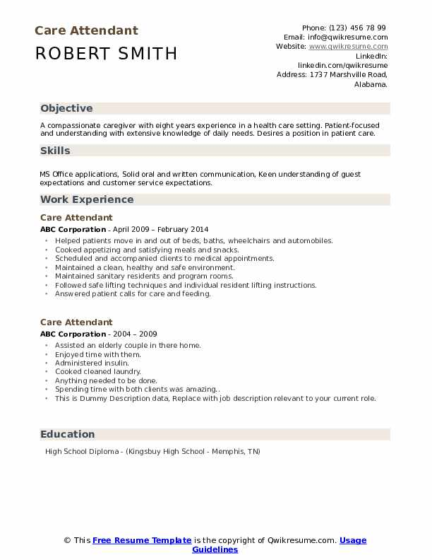 Care Attendant Resume example