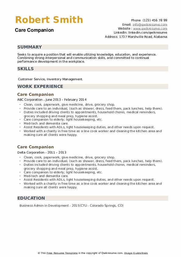 Care Companion Resume example