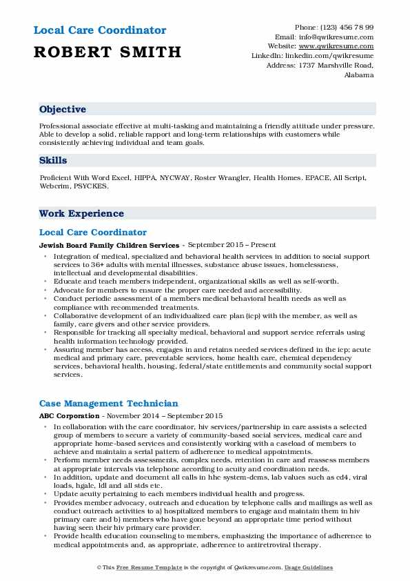 Care Coordinator Resume Samples Qwikresume