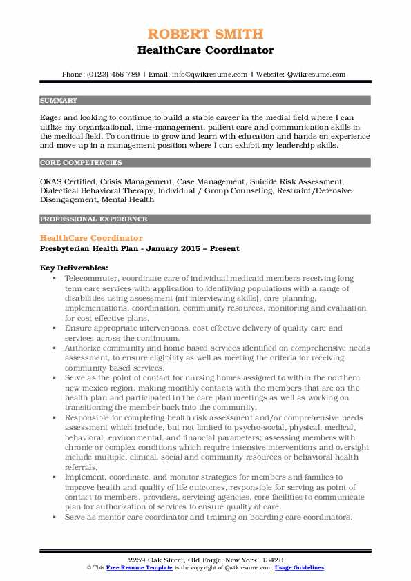 care coordinator resume samples