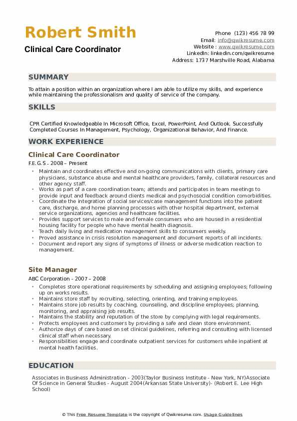 Clinical Care Coordinator Resume Example