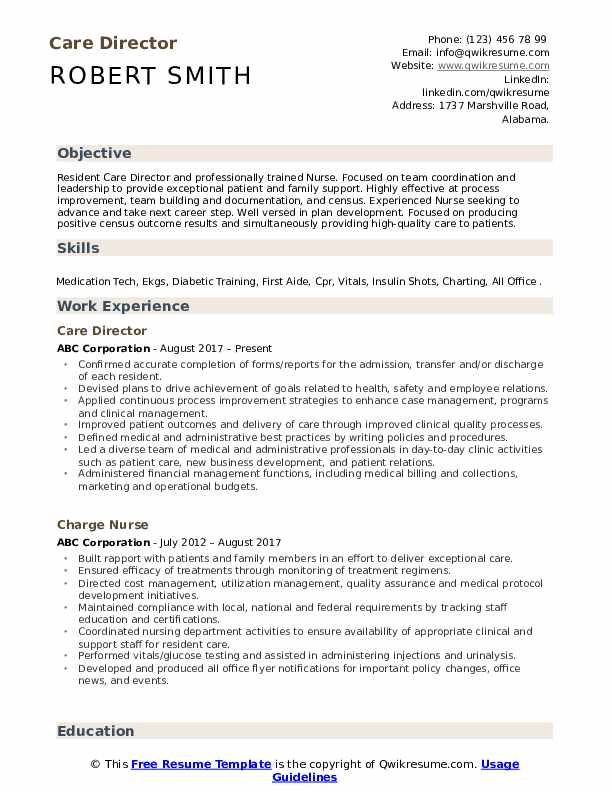 Care Director Resume Model