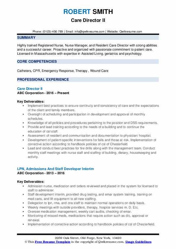 Care Director II Resume Template