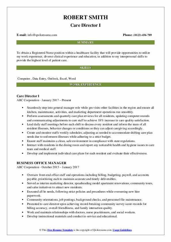 Care Director I Resume Format