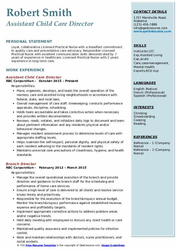 Assistant Child Care Director Resume Sample