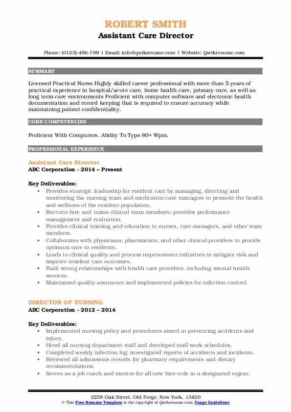 Assistant Care Director Resume Template