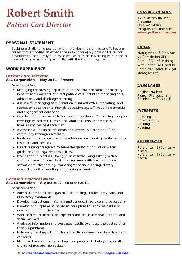 Patient Care Director Resume Template