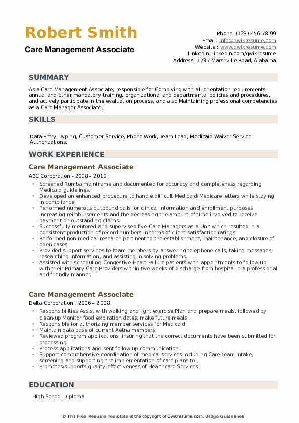 Care Management Associate Resume example