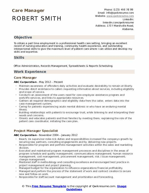 Care Manager Resume Format
