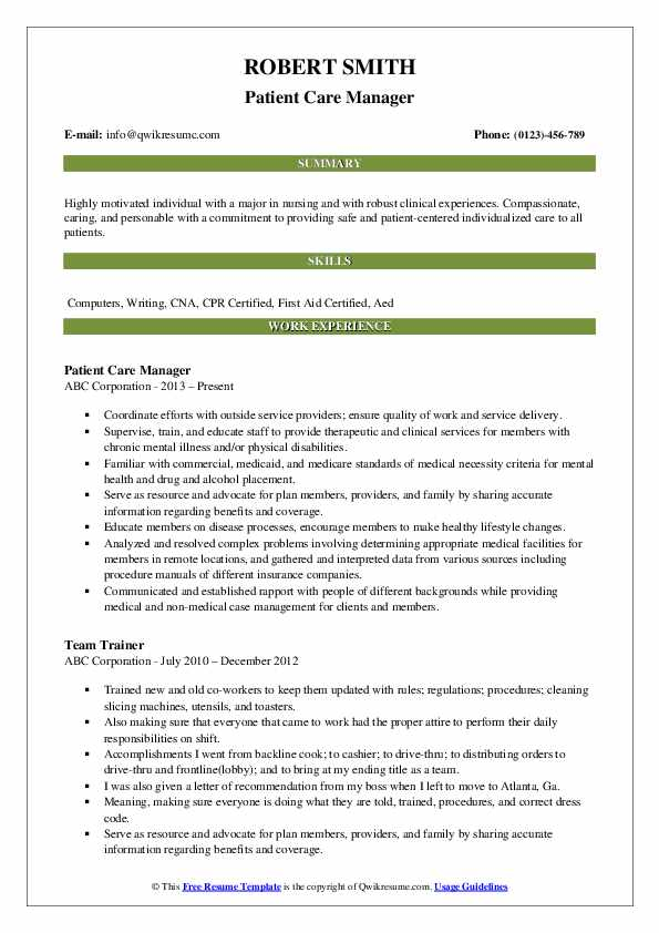 Patient Care Manager Resume Model