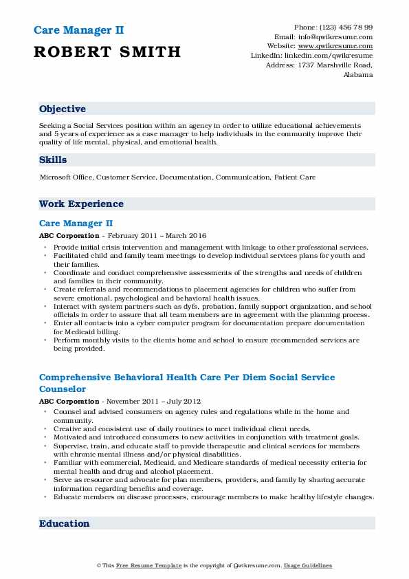 Care Manager II Resume Format