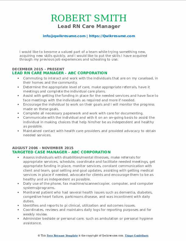 Lead RN Care Manager Resume Template