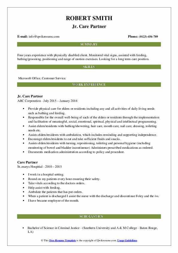 Jr. Care Partner Resume Model