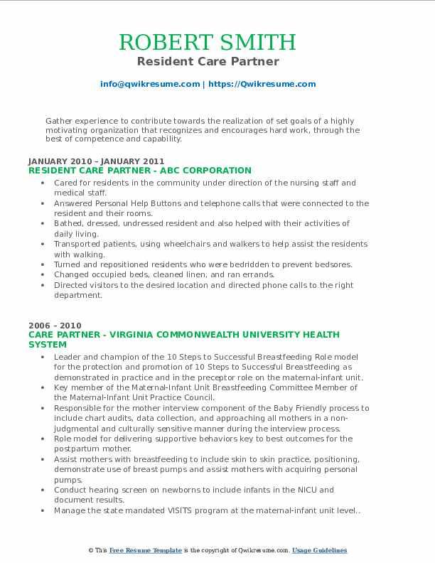 Resident Care Partner Resume Model