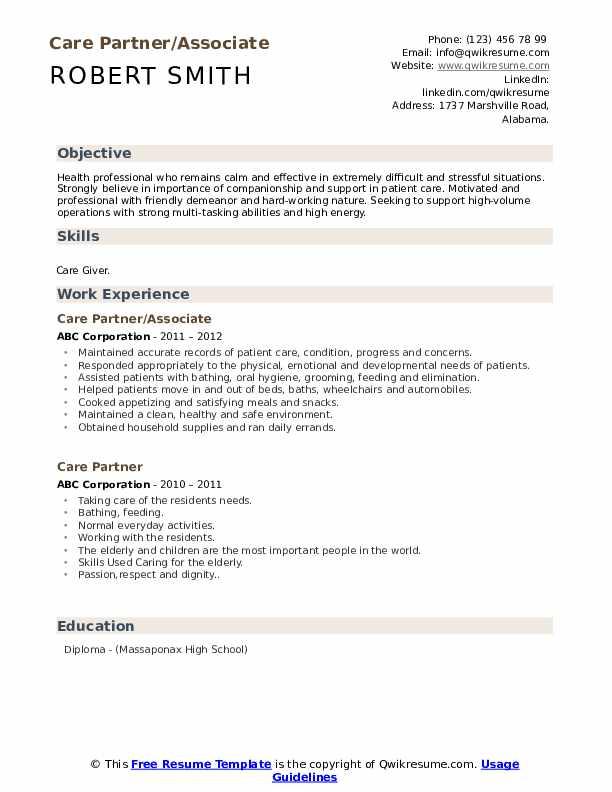 Care Partner/Associate Resume Template